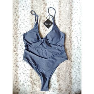 Light Slate Gray Bow Front Cutout One Piece S/4
